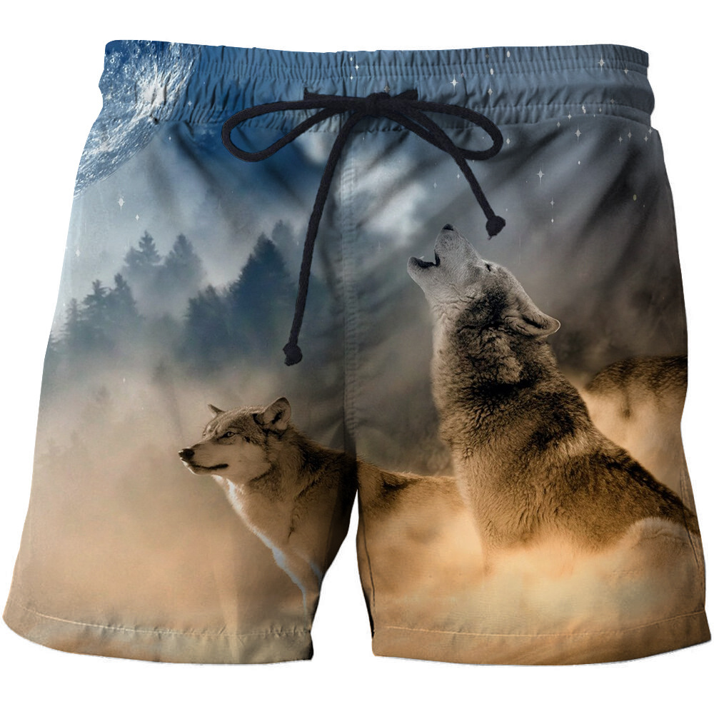 DIHOPE 2020 Summer Beach Shorts Wolf Printed 3D Surfing Shorts Men Funny Male Swimming Shorts Animal Design Sport Shorts