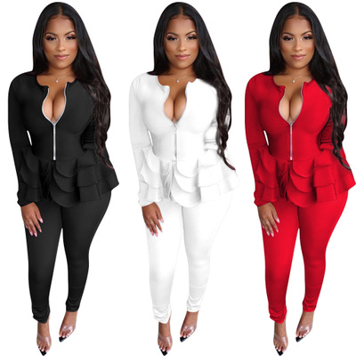 Autumn And Winter New European And American Women's 2019 Round Neck Ruffled Solid Color Casual Pants Suit