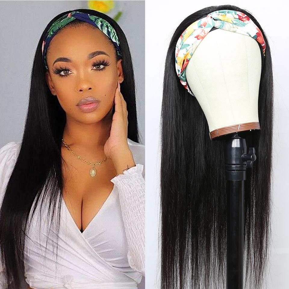 YYong Straight Short Headband Wigs 100%  Wigs With Scarf, 8-24inch Glueless Full Machine Net Head Band  Wig 1