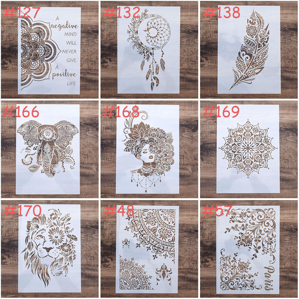 A4 Size DIY Craft Mandala Henna Stencil For Wall Painting Scrapbooking Stamping Stamp Album Decorative Embossing Paper Card S