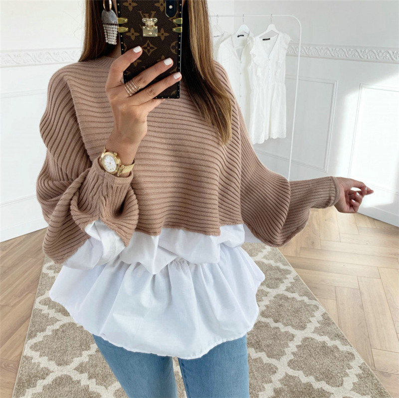 Fashion Women Hoodies For Streetwear Color Lady Autumn Winter Casual Loose Shirts Matching Patchwork Design O-Neck Top Elegant