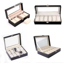 5/6/10/12 Grids PU Leather Watch Box Case Holder Organizer for Quartz Watches Jewelry Boxes Display With Buckle Best Gift