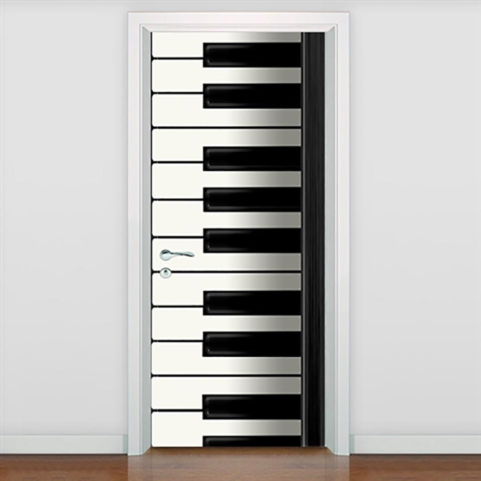 Canvas Prints Pictures Door Piano Key Decor Stickers Self Adhesive For Living Room Waterproof 3D Mural Renovation Funny Decals