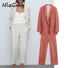 2020 england style solid casual silk blazer women blazer mujer 2020 women harem suit pants women trousers women 2 pieces set
