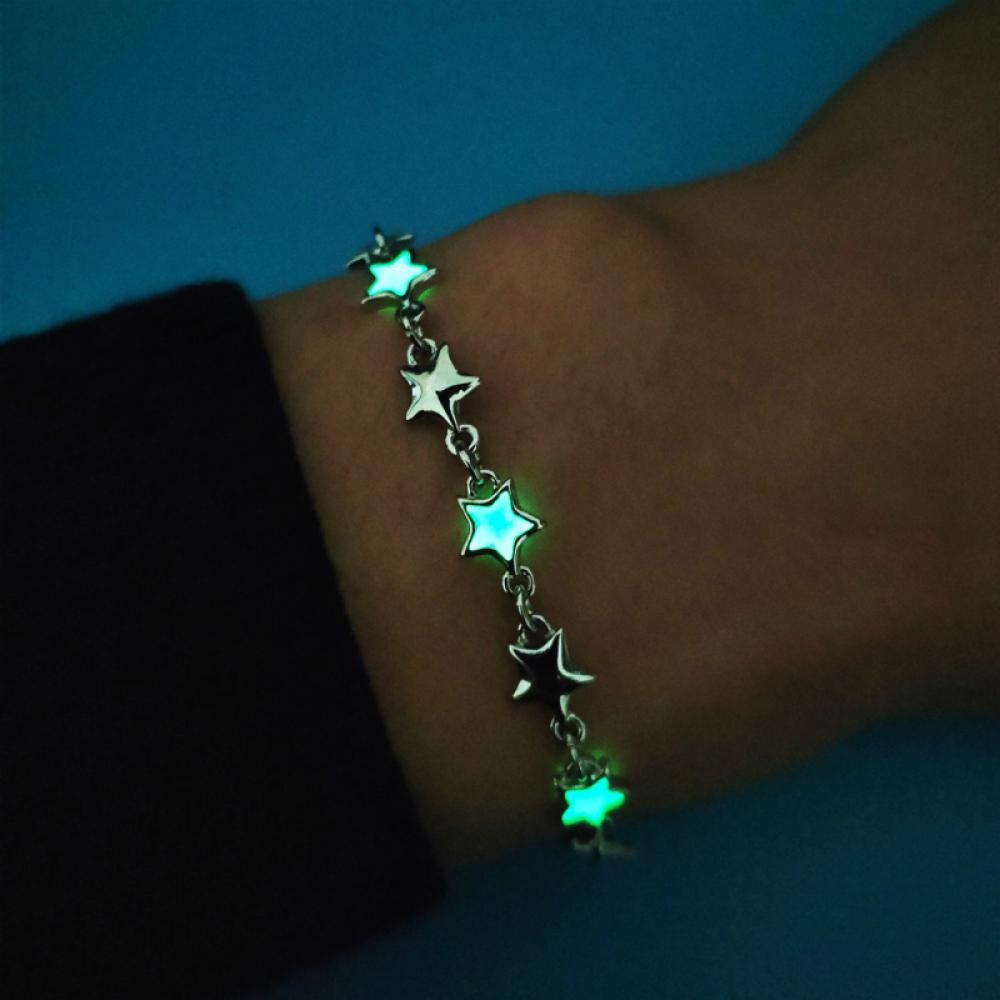 Women Charm Bracelet Wholesale New Personality Creative Luminous Star Bracelet Fashion Glow In The Dark AlloyJewelry Gifts