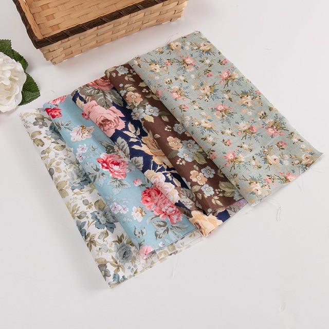 25*25cm /Pc Vintage Printed Patchwork Fabrics Doll Handmade Accessories Floral Cotton Fabrics For DIY TJ0537-2 5