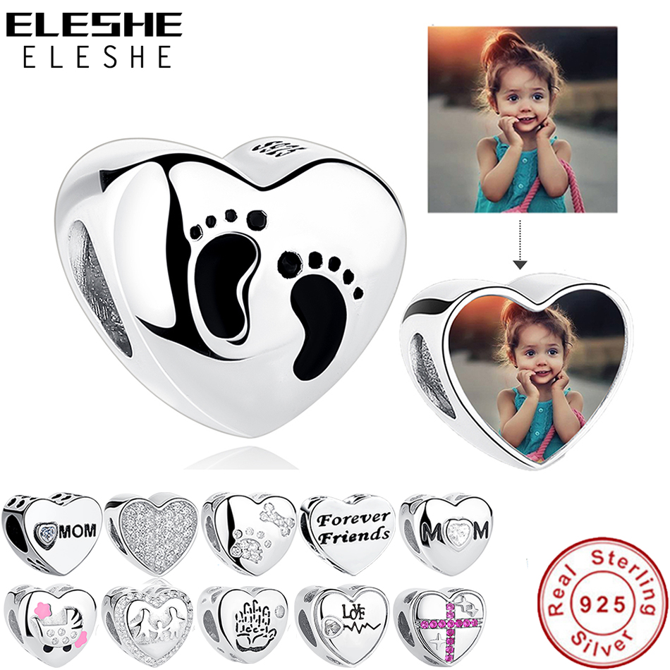 ELESHE Romantic Custom Photo Heart Charms Fit Original Pandora Bracelet 925 Sterling Silver Beads DIY Original Jewelry Making