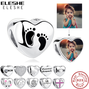 ELESHE Romantic Custom Photo Heart Charms fit Original Pandora Bracelet 925 Sterling Silver Beads DIY Original Jewelry Making(China)