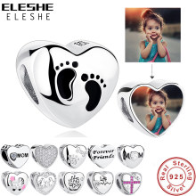 Eleshe Romantis Photo Hati Charms Fit Asli Pandora Gelang 925 Sterling Silver Manik-manik Asli Membuat Perhiasan(China)