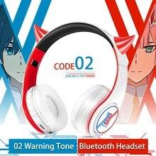 Cosplay Anime Darling in the FranXX 02 Zero dwa wskazówka, bezprzewodowa, zestaw słuchawkowy Bluetooth montowanych głowy słuchawki do telefonów komórkowych