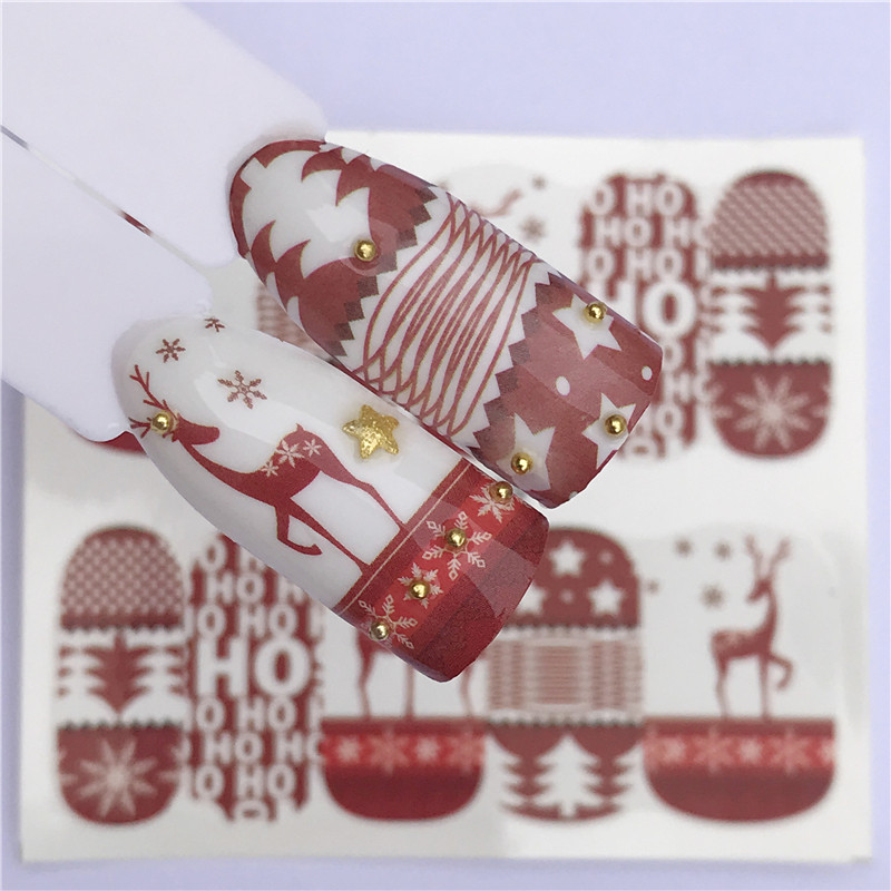 1 Sheet Winter Christmas Slider Nail Decals Nail Art Sticker DIY Manicure Water Accessory Transfer Foil Xmas Gift
