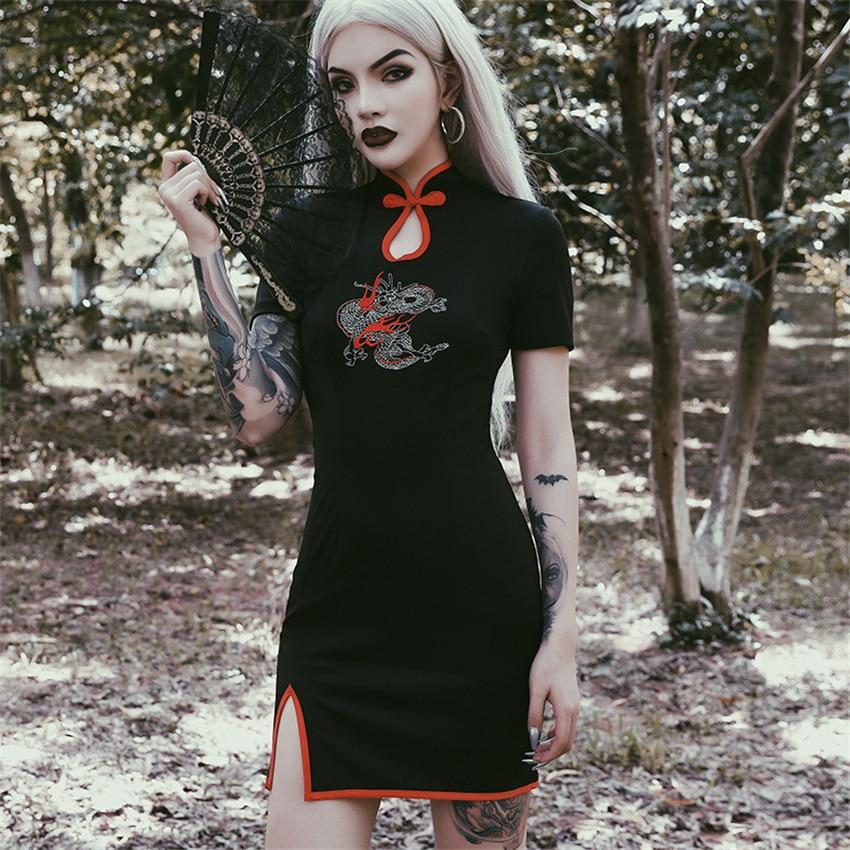Japanese Style Gothic Style Girl Vintage Dress Embroidery Dragon Split Collar Harajuku Women Short Sleeve Streetwear Party Haori