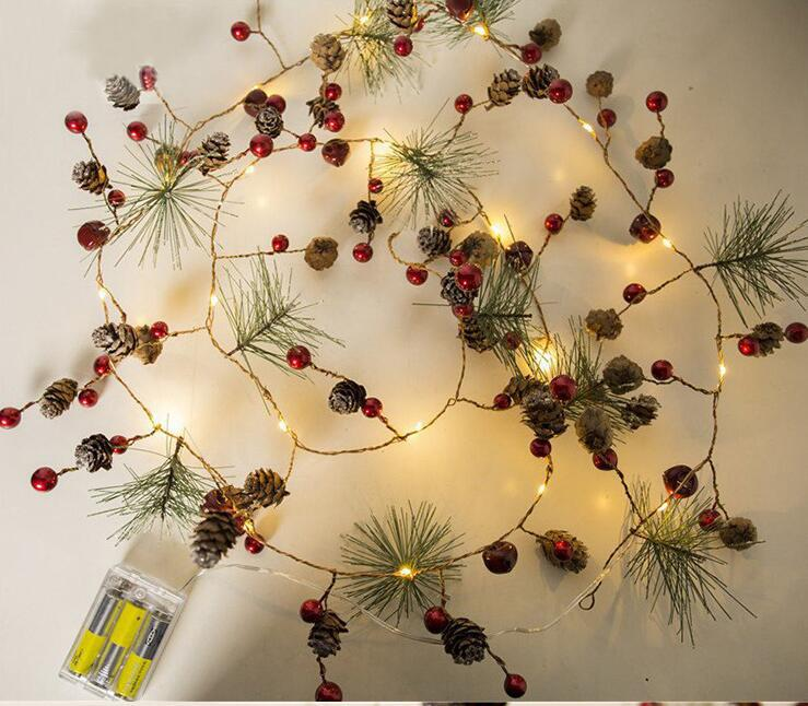 AsyPets 2M 20LEDs PineCones Pine Needle Red Berry Copper Wire String Light For Christmas Decor Warm White