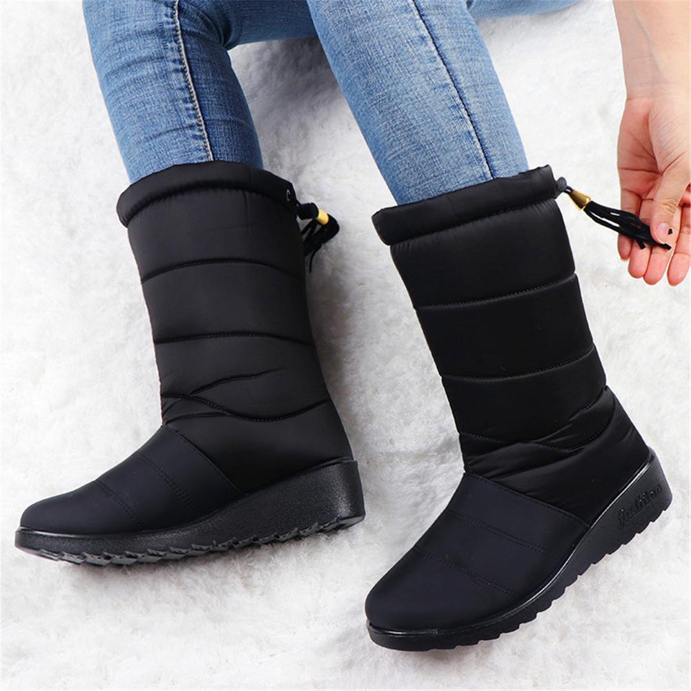 2020 Winter Boots Waterproof Women Winter Mid-Calf Shoes Waterproof Upper Warm Fur Lined Anti-slip shoes for Women's