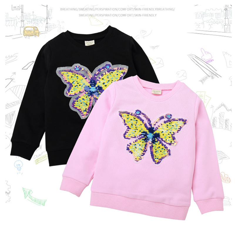kids wear spring autumn girls clothes sweatshirt T-shirt cartoon flower butterfly sequin color change applique quality clothing image