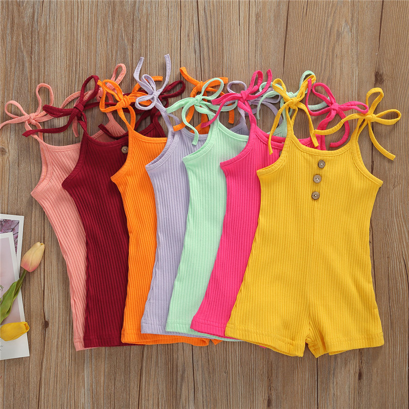 Newborn Toddler Baby Boy Girl Cotton Romper Baby Lace up Summer Sleeveless Cotton Rib knitted Jumpsuit Clothes Outfits 7 Colors