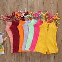 Neugeborenen Kleinkind Baby Jungen Mädchen Baumwolle Romper Baby Lace-up Sommer Ärmellose Baumwolle Rib-gestrickte Overall Kleidung Outfits 7 farben