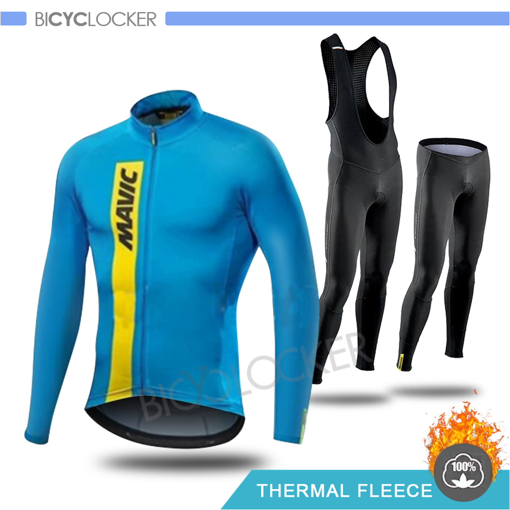 Winter Cycling Clothing Mavicing Thermal Fleece Long Sleeve <font><b>Bike</b></font> Jersey Set Cycle <font><b>Wear</b></font> Keep Warm Riding Man Full Zipper Clothes image