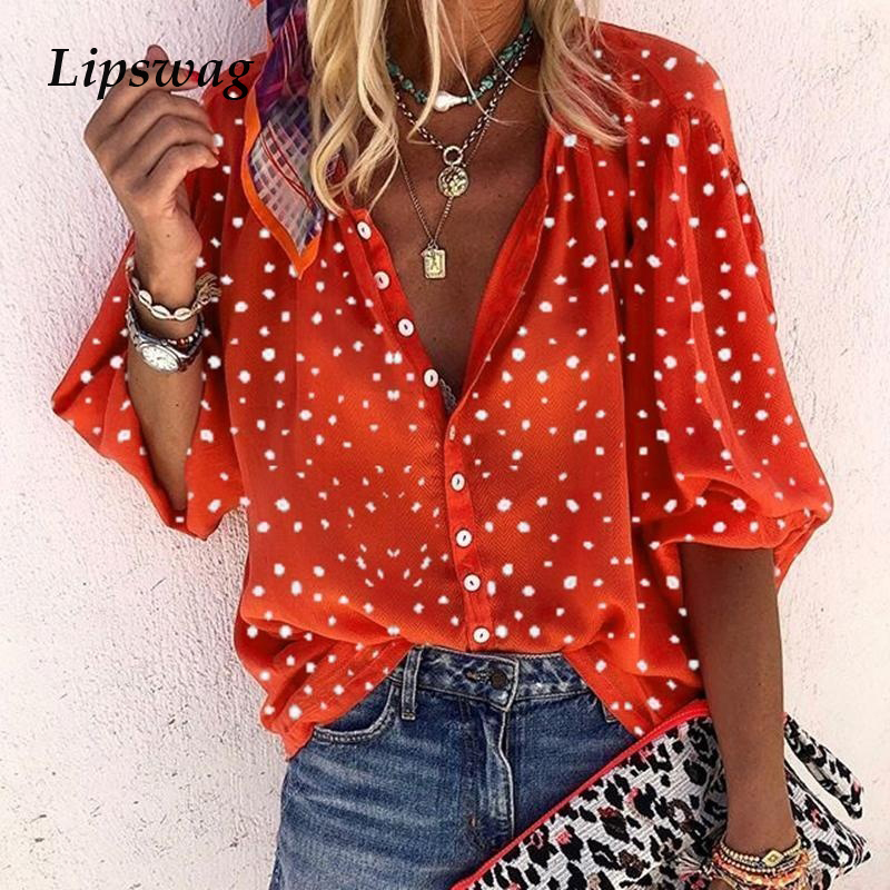 Lipswag <font><b>5XL</b></font> <font><b>Sexy</b></font> Print V-Neck Button Blouses Women 2019 Summer <font><b>Autumn</b></font> Loose Streetwear Top Elegant Plus Size Tops Blouse Female image