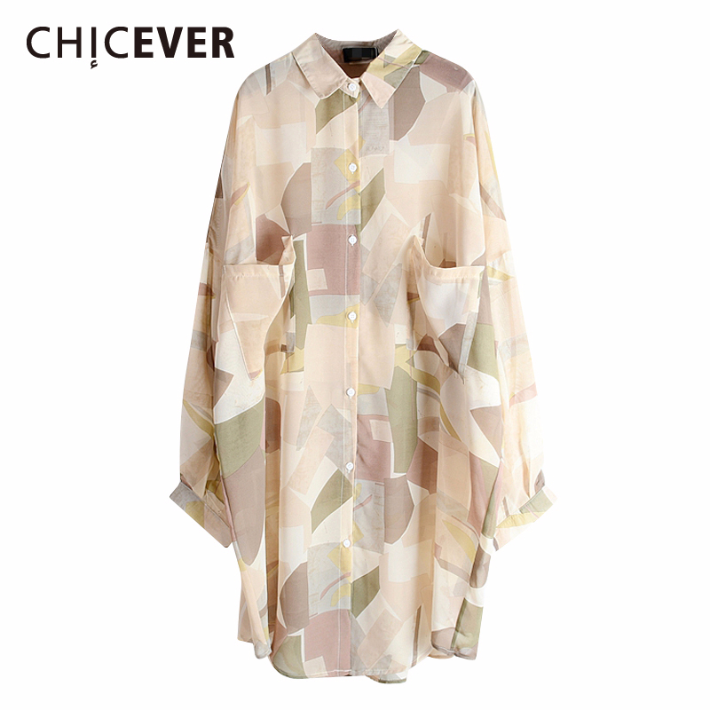 CHICEVER Print Hit Color Shirt Women Lapel Collar Long Sleeve Pockets Free Size Asymmetric Summer Blouse Female Clothes 2020