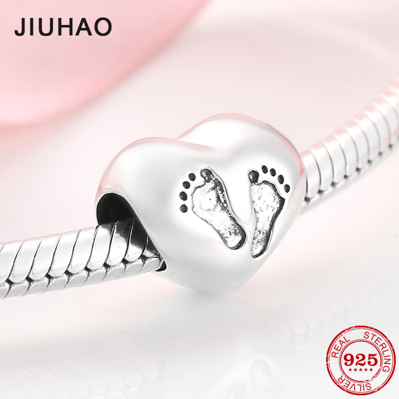 Hot sale Baby footprint Sterling Silver 925 Beads Charms bead Fit Original JIUHAO Bracelet bangles Jewelry making(China)