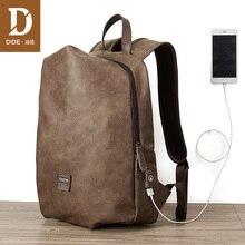 DIDE 14-15 inch Backpack Bag Men USB Charging Laptop Backpacks For Male Schoolbag Casual Travel waterproof Gift
