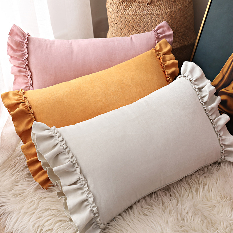 Lotus Leaf Pillow Cover Hipster Pillow Suede Sofa Cushion Cover Bed Head Pillow Cover  Case  Pillowcase