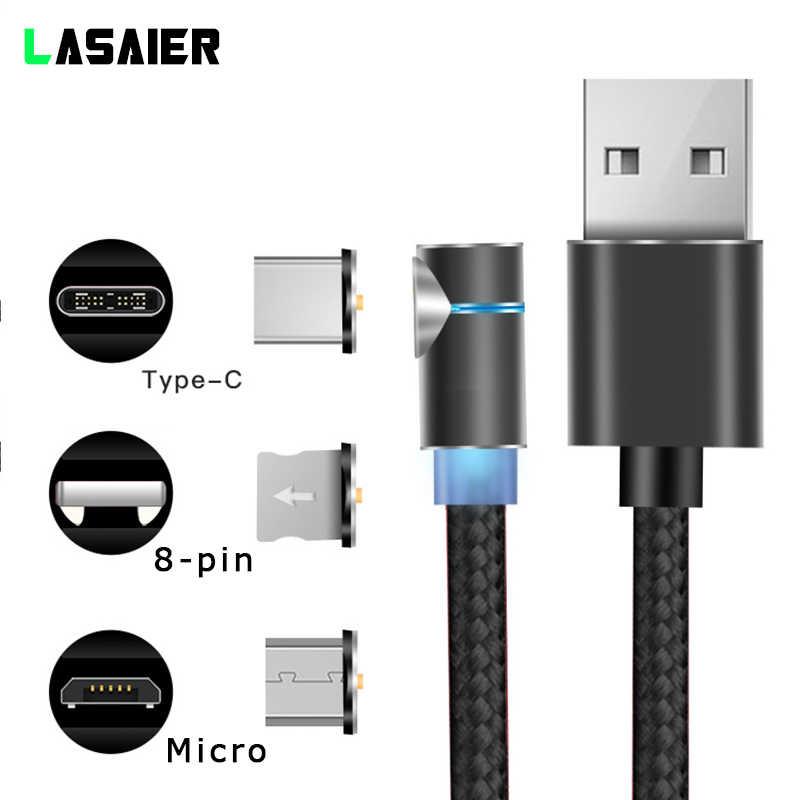 90 gradi Cavo Magnetica LED 2.4A Veloce di ricarica Per il iphone X Micro USB Caricabatterie Rapido Tipo C Magnete Cavo Del Telefono cavi Per Samsung
