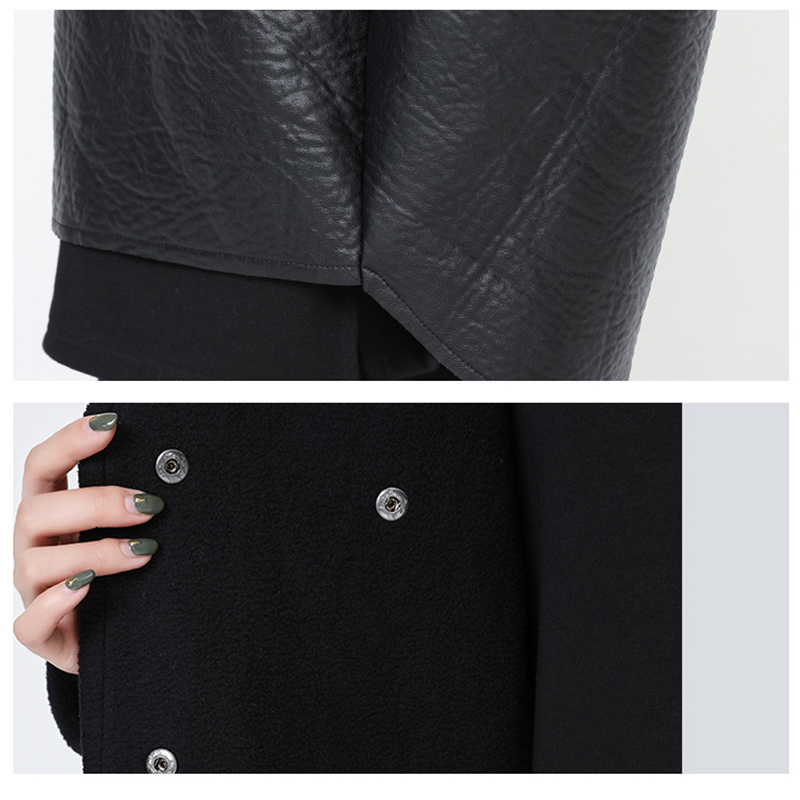 [EAM] Loose Fit Hooded Black Pu Leather Thick Oversize Jacket New Long Sleeve Women Coat Fashion Tide Autumn Winter 19 JG637 10