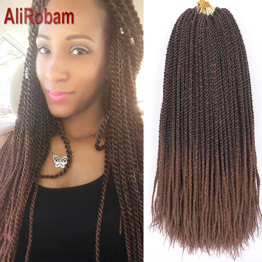 AliRobam Senegalese Twist Braid Pure/Ombre Brown Grey Color Crochet Braids Synthetic Braiding Hair Extensions 22Roots/pack