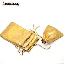 Sacs en tissu doré, 50 pièces, 7x9cm 9x12cm, emballage de bijoux en Organza, sacs cadeaux à cordon et pochettes à bonbons de mariage, vente en gros