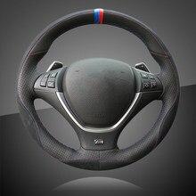Otomatik örgü üzerinde direksiyon kılıfı BMW E70 X5 2008 2013 E71 X6 2008 2014 iç aksesuar araba direksiyon kılıfı