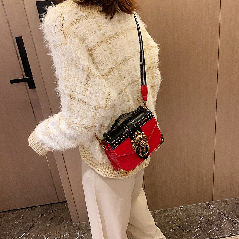 H5b8eb94e14c847c7a24426b204e2a49eu - Female Fashion Handbags Popular Girls Crossbody Bags Totes Woman Metal Lion Head  Shoulder Purse Mini Square Messenger Bag