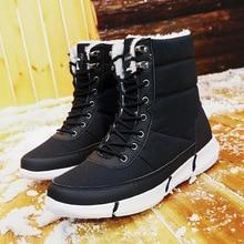 Winter Shoes Mens Boots 2019 Platform Warm Plus Fur Snow Work Lace-up Ankle Size