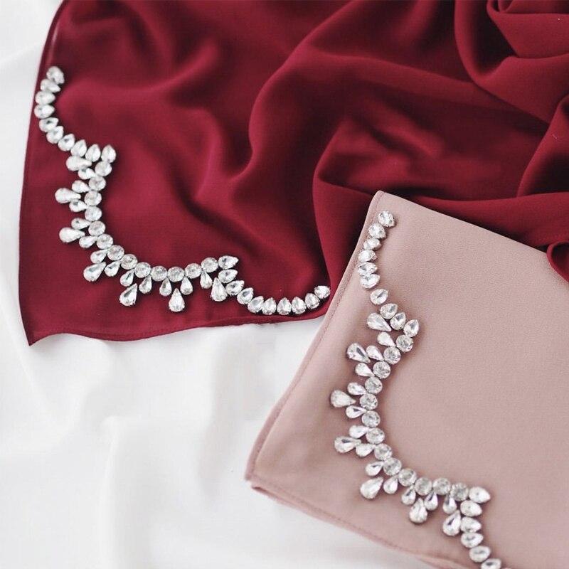 Crystal Crown Hijab Scarf Chiffon Diamont Soft Women Scarves And Shawls Echarpe Fashion Muslim Hijabs