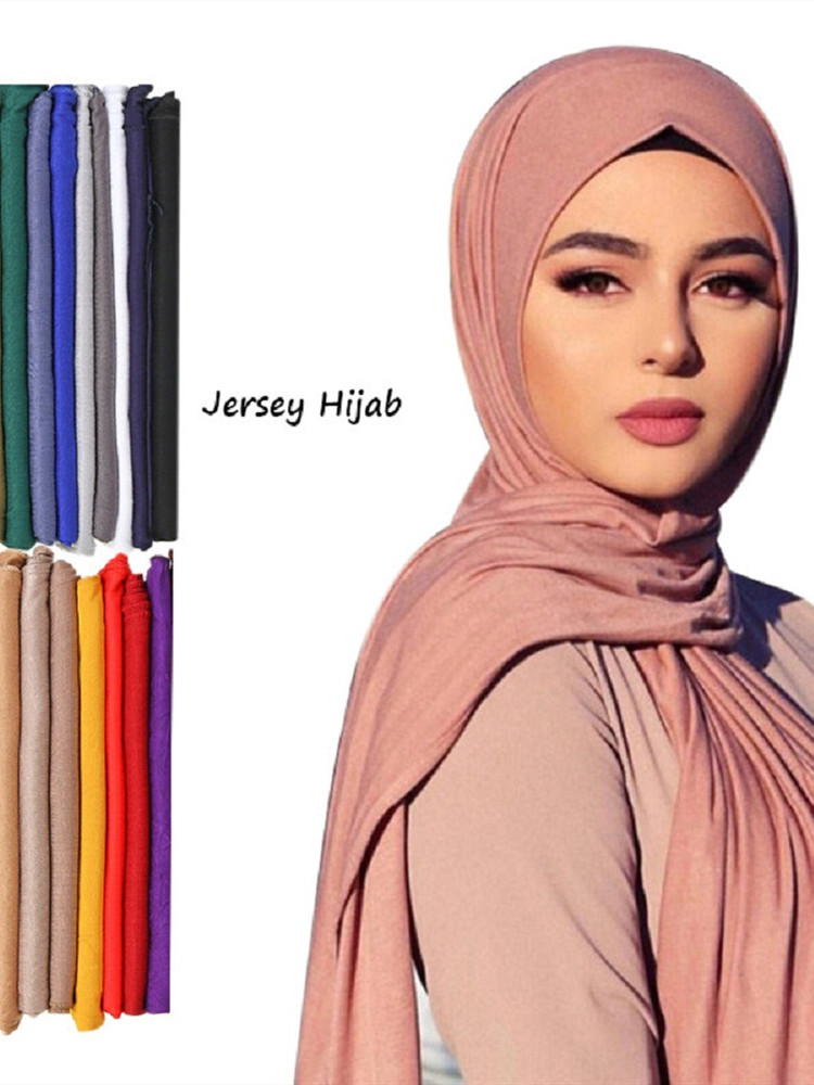 Hijab Scarf Headband Wraps Jersey Muslim Shawl Soft-Turban Plain Africa Long Cotton Fashion