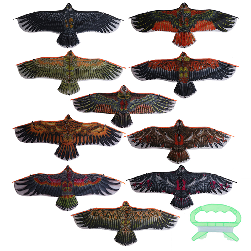 Flat Eagle Kite With 30 Meter Kite Line Children Flying Bird Kites Windsock Outdoor Toys Garden Cloth Toys For Kids Gift 1.1m