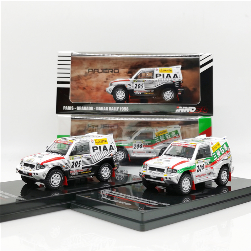 1:64 INNO INNO64 Mitsubishi Pajero EVO #205 PIAA #204 Mitsubishi OIL Paris Dakar 1998 SUV Rally Racing Die-cast Model Car