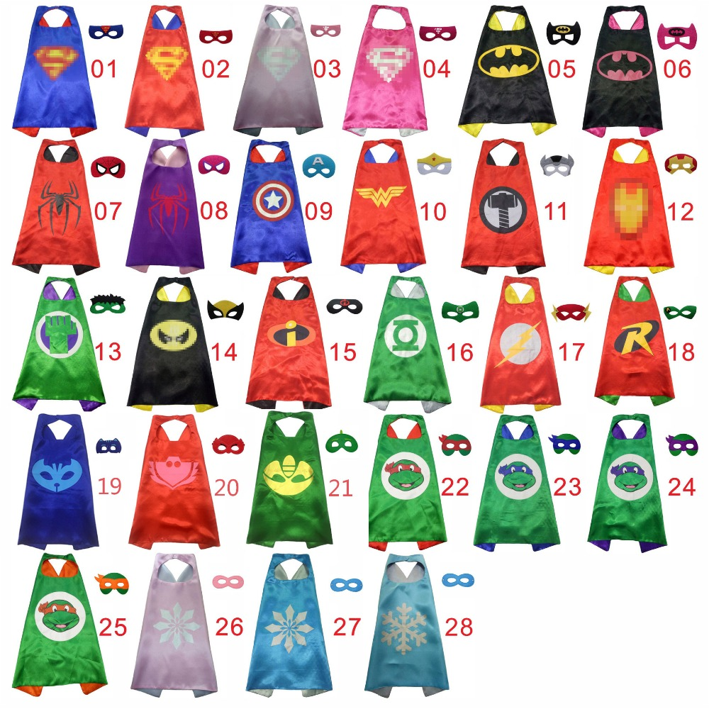 Superhero Capes With Mask Boys Girls Birthday Party Favor Dress Up Double Halloween Superman Cloak Kids Christmas Cosplay Costum