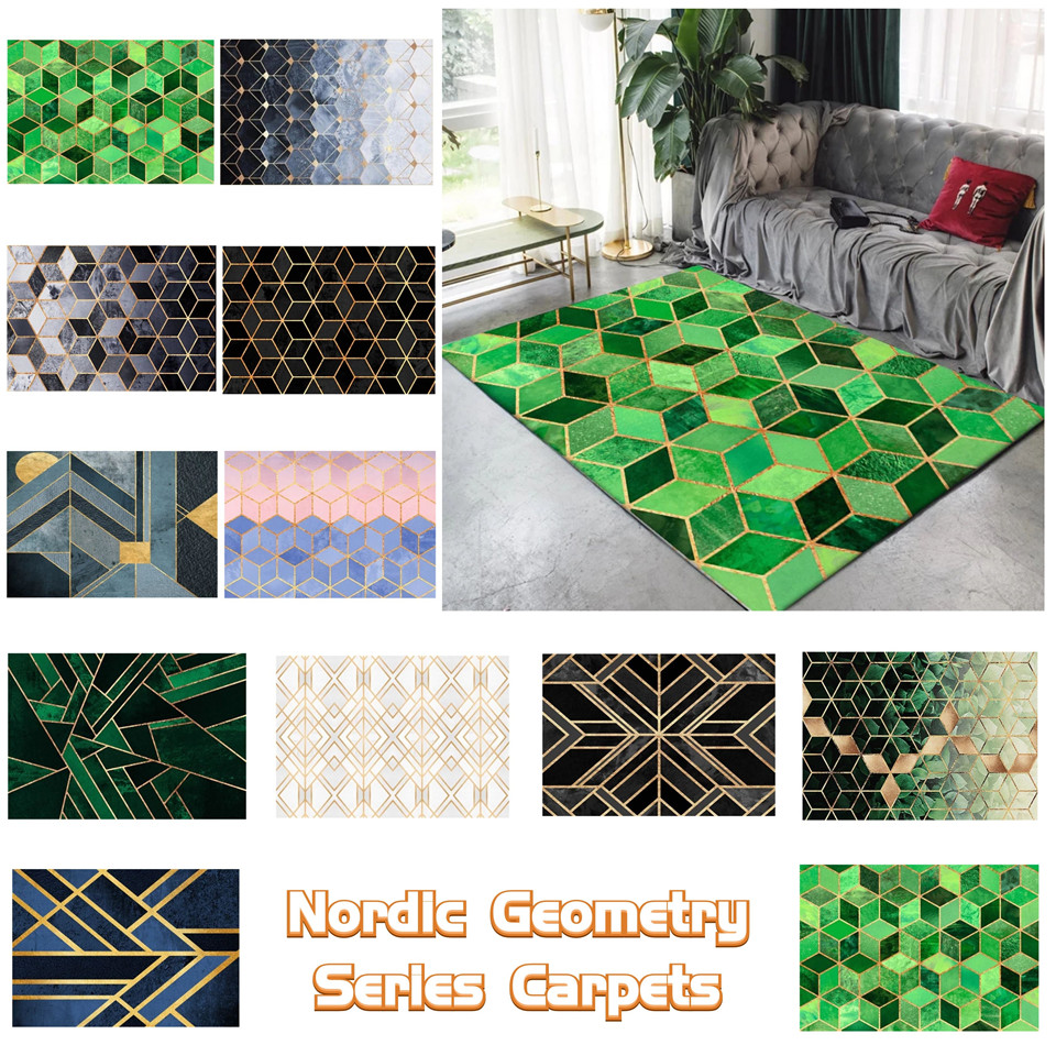 Modern Nordic Geometric Golden Lines Carpet Living Room 3D Marble Pattern Rugs For The Bedroom Kitchen Rug Bathroom Non-slip Mat