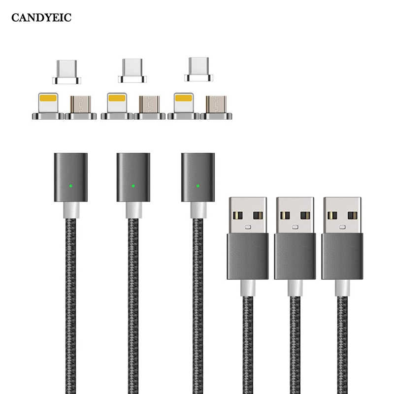 CANDYEIC Micro USB Magnetic ChargerสำหรับiPhone Samsung Huawei Honor LG MOTO Xiaomi Redmi OPPO VIVO Realme USB Cสาย