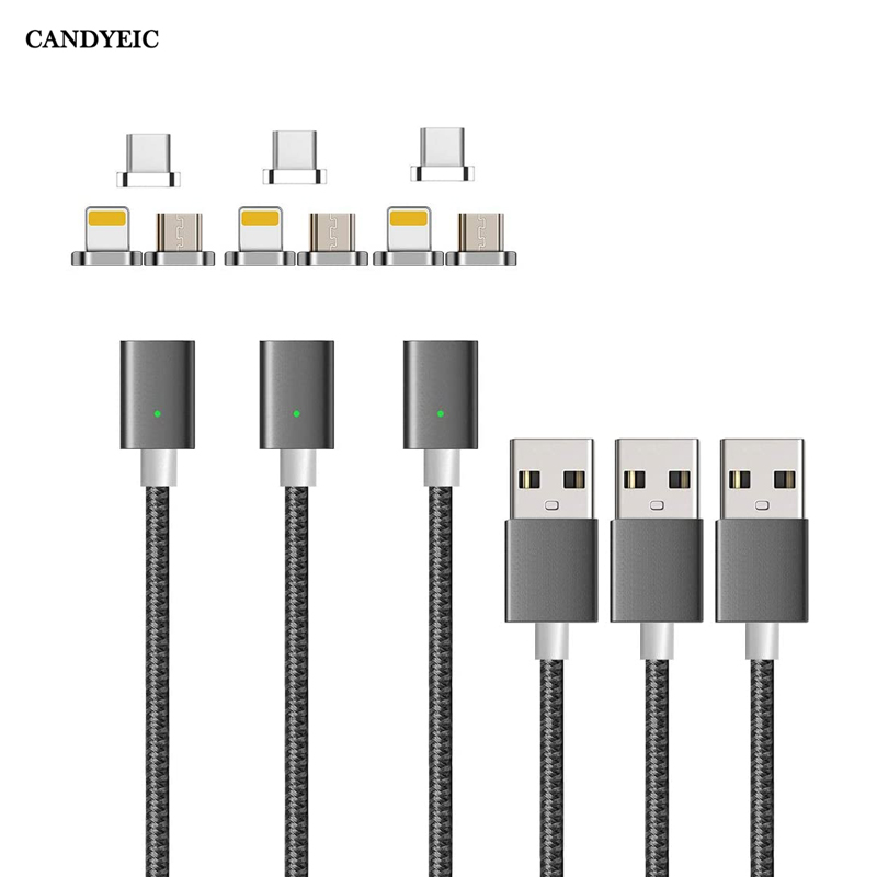CANDYEIC Micro USB Magnetic Charger For iPhone Samsung Huawei Honor LG MOTO Xiaomi Redmi OPPO VIVO Realme USB C Magnetic Cable(China)