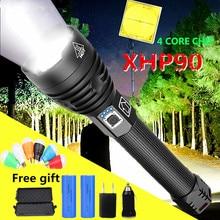 80000LM 슈퍼 강력한 Xlamp XHP90.3 XHP90 LED 손전등 LED 토치 USB XHP50 램프 줌 전술 토치 26650 충전식 Battey