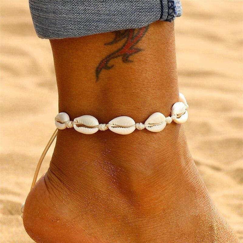Boêmio escudo tornozeleiras para mulher artesanal de couro tecido natural escudo pé jóias praia verão descalço pulseira tornozelo na perna