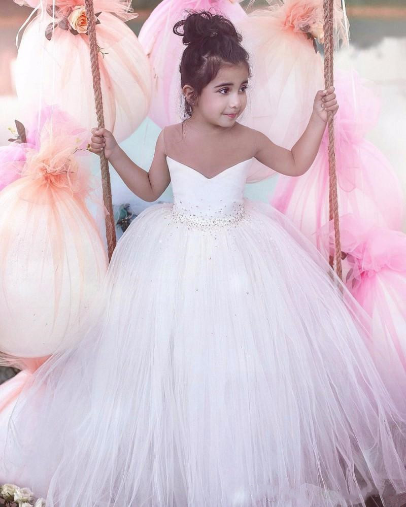 White Flower Girl Dresses Ball Gown Tulle Sheer Neck Beads Girls Pageant Gown Birthday First Communion Dress
