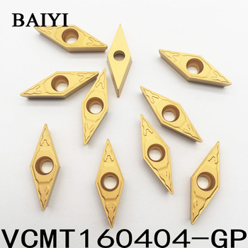10pcs VCMT160404-GP GP1225 CNC cutting tools rotary carbide inserts apply to steel