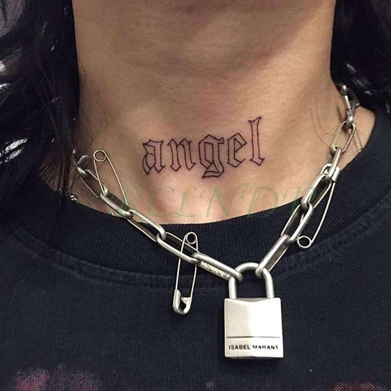 Wasserdicht Temporäre Tätowierung Aufkleber Schwarz Wort engel teufel bull kreuz Englisch Buchstaben Flash Tatoo Gefälschte Tatto für Frau Männer