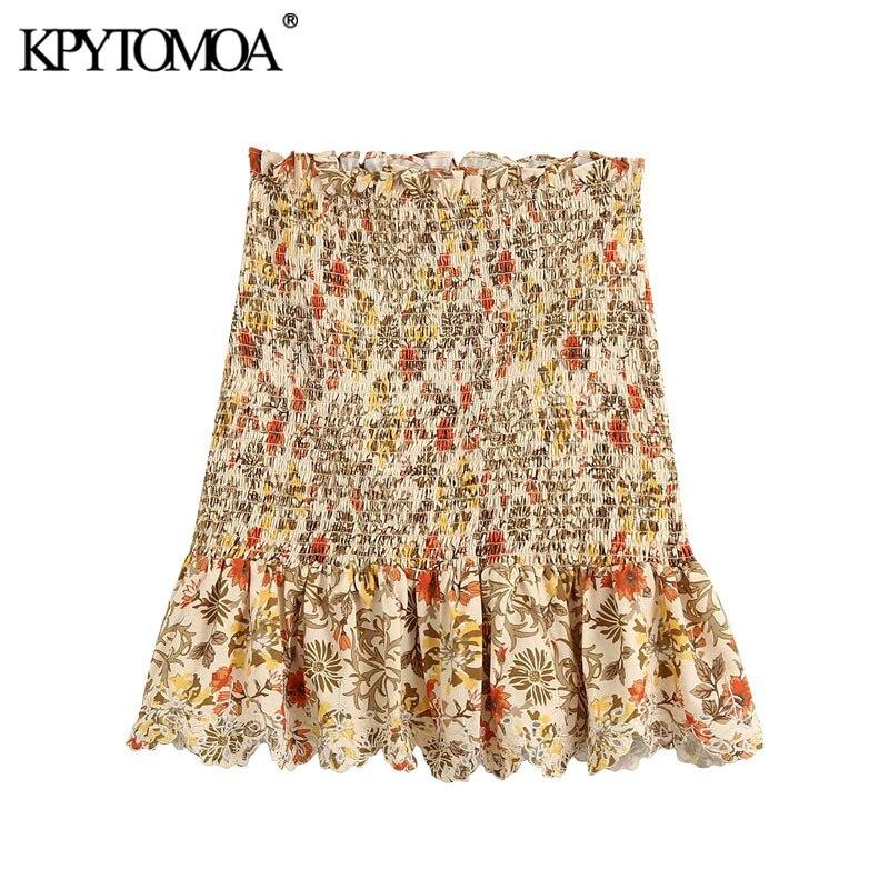KPYTOMOA Women 2020 Fashion Floral Print Smocked Ruffled Mini Skirt Vintage Elastic Waist Hollow Out Embroidery Female Skirts