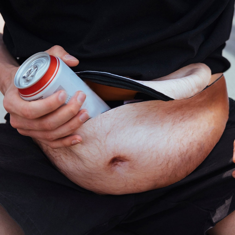 Bag On A Belt Fashion New Personality Simulation Big Belly Ass Pockets Men's Black Belly Design Zipper Single Waist Pack.w