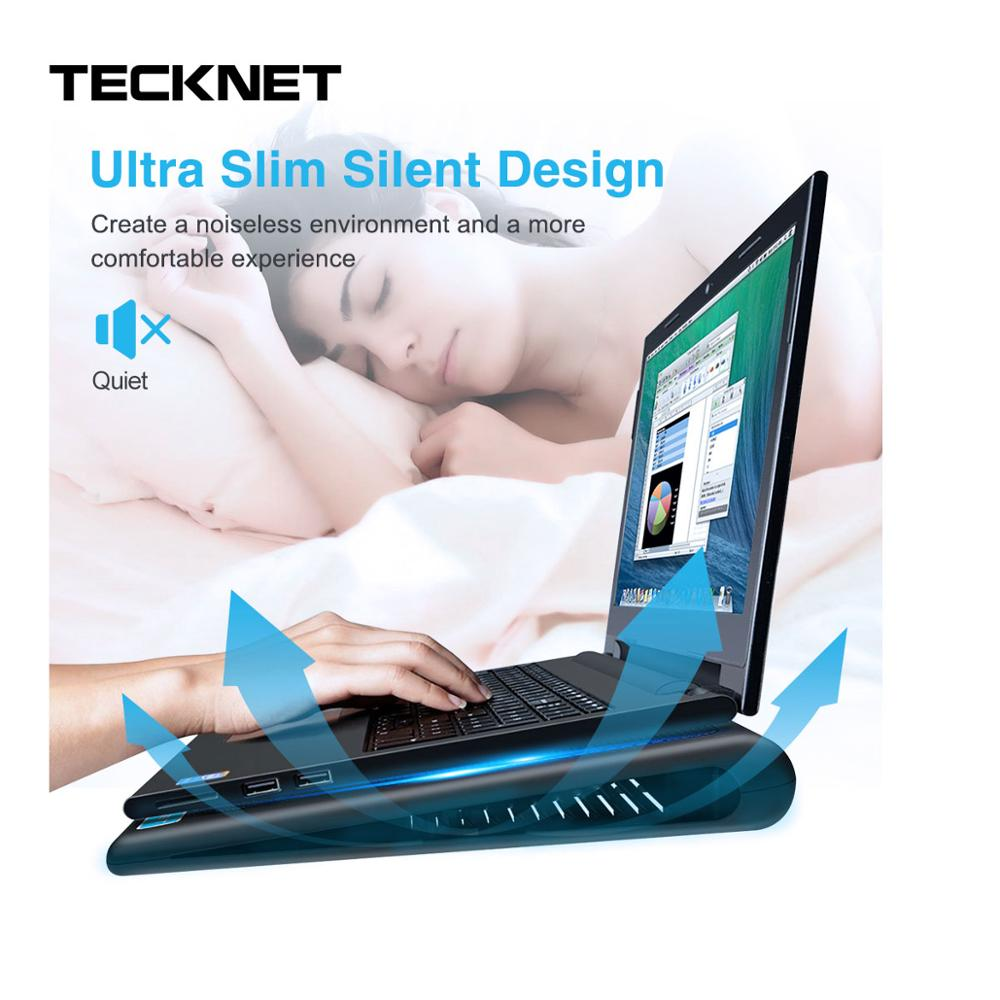 TeckNet охлаждающая подставка для ноутбука Подставка для ноутбука 2 вентилятора кулер подходит 9 16 дюймов для ноутбука ПК компьютер USB Вентилятор Охлаждающая подставка